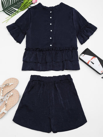 Dark Blue Flare Sleeve Ruffled Top And Shorts Set