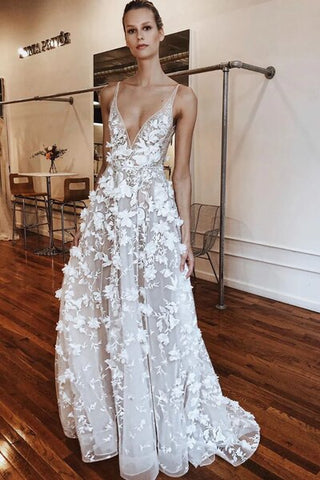 Unique Tulle V Neck Long A-Line Floral Wedding Dress