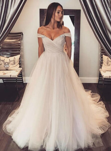 Tulle Sleeves Blush Off Shoulder Wedding Dress Colorful Bridal Dress