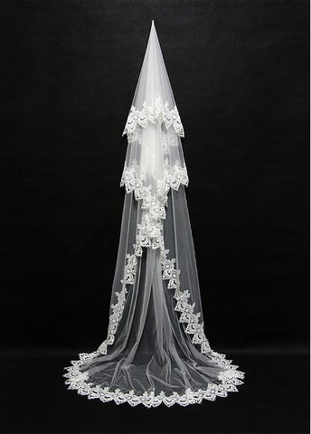 Beautiful Tulle Cathedral Wedding Veil With Lace Applique Edge