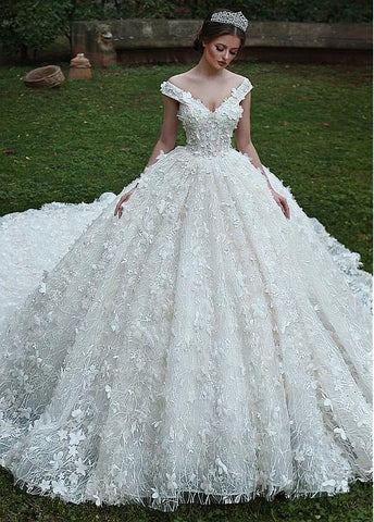 Lace Off-the-shoulder 3d Flowers Ball Gown Wedding Dress