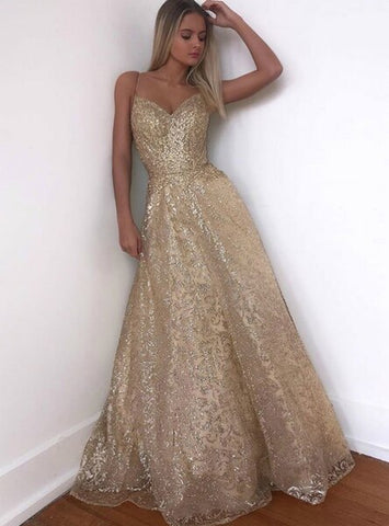 A-Line Gold Backless Tulle Sequins Spaghetti Straps Long Prom Dress