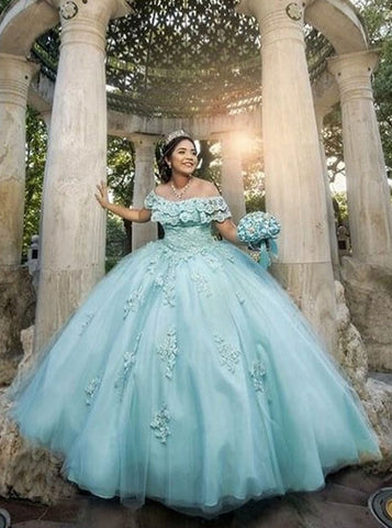 Appliques and Lace Ball Gown Off-the-Shoulder Turquoise Quinceanera Dress