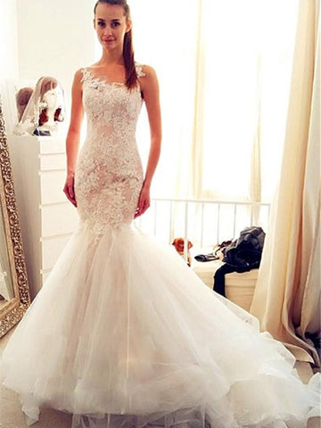 Mermaid Appliques Wedding Dress