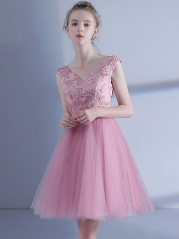Pink Bowknot Sashes V-Neck Short Homecoming Dress