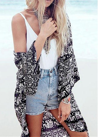 Summer Fashionable Polyester Long Sleeve Beach Cover-ups