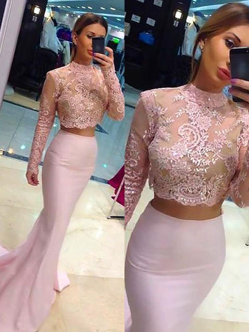 Sheath Column Long Sleeves Lace Two Piece Prom Dress