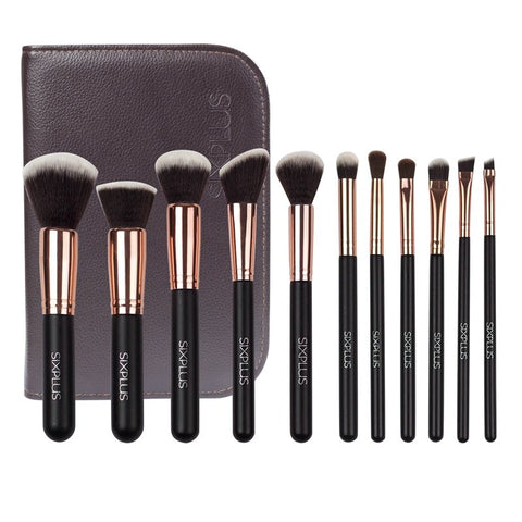 11Pcs Makeup Brushes Kit Tools Cosmetic Brush Holder Bag Face Foundation Set
