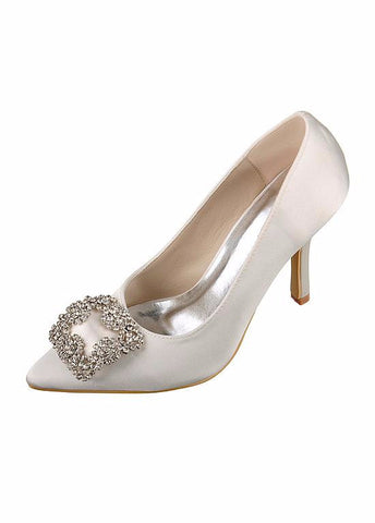 Chic Satin Upper Closed Toe Stiletto Heels Bridal Shoes With Rhinestones
