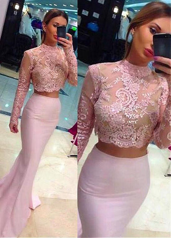 High Collar Mermaid Two-piece Evening Dress