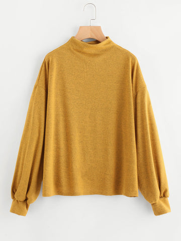 Vintage Yellow Lantern Sleeve Drop Shoulder Sweatshirt