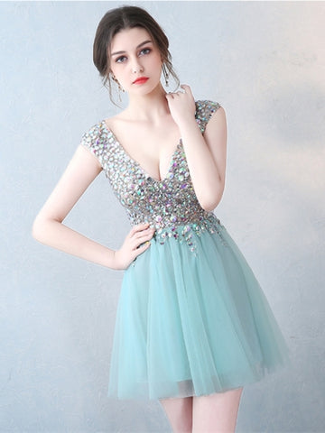 Mint V-Neck Beading Crystal Cocktail Dress