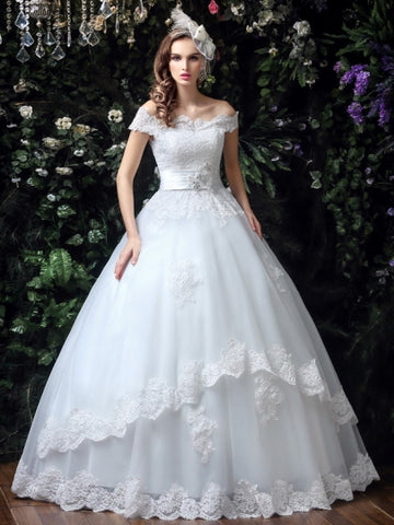 Off-The-Shoulder Lace Ball Gown Wedding Dress