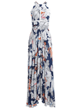 Bowknot Floral Cut Out Maxi Dress