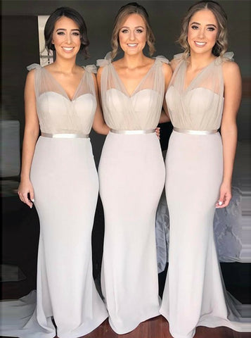 Light Grey Mermaid V-Neck Bridesmaid Dress with Sash