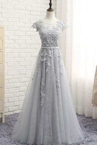 See Through Gray Cap Sleeves Tulle Appliques Scoop Tulle Prom Dress