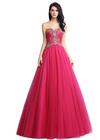 Amazing Tulle Sweetheart Neckline Full-length A-line Prom Dresses With Beadings
