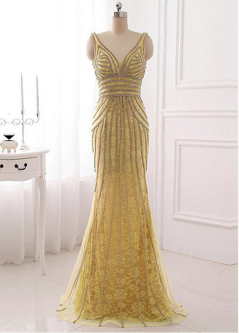 Alluring Tulle V-neck Neckline Sheath Evening Dresses With Beadings