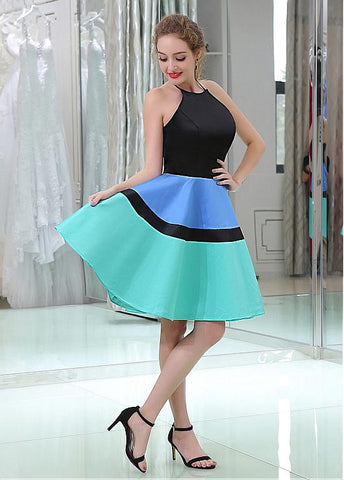 Satin Halter Neckline Backless Short Length A-line Homecoming Dresses