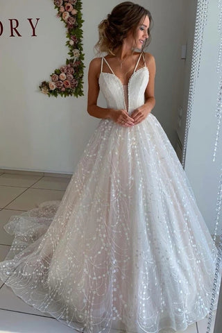 V Neck Straps A Line Beautiful Sparkle Wedding Dress