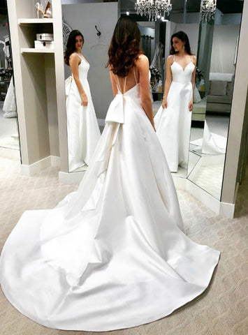 Backless A Line White Satin Double Straps Wedding Dress