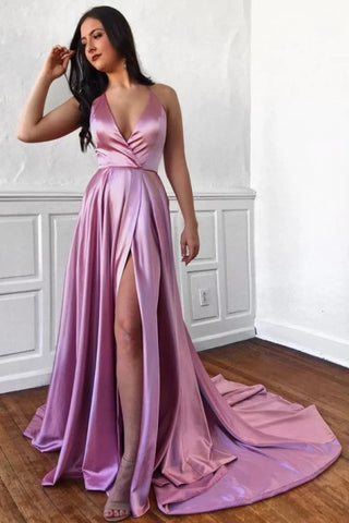 Satin A Line Sexy V Neck Pink Prom Dress With Slit