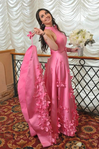 Halter Sleeveless Satin Flowers Pink A Line Prom Dress