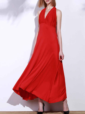 Red Backless Convertible Maxi Dress