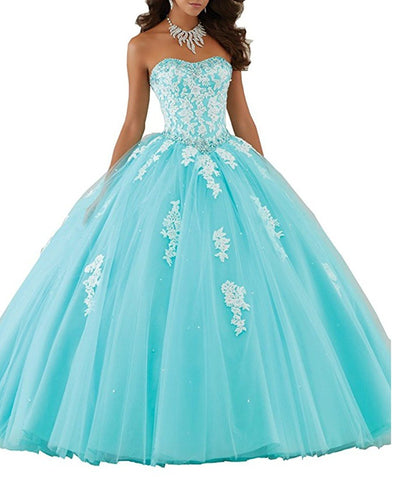 Sweetheart Prom Long Dresses Quinceanera Gown with Crystal Sequins
