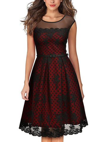 Women's Vintage Embroidered Lined Polka Dots Cocktail Swing Dress