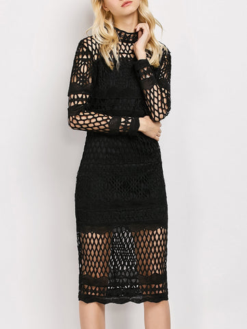 Black Long Sleeve Geometric Lace Dress