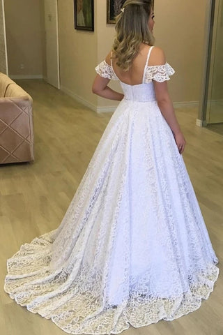 Straps Lace A Line Boho Off The Shoulder Wedding Dress