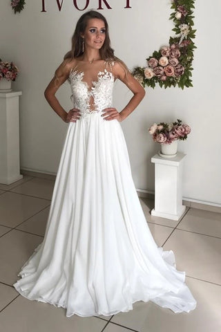 Appliques Beading Sheer Neck See Through Chiffon Wedding Dress