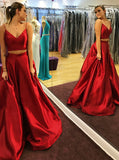 Red Satin Two Piece Spaghetti Straps Prom Dress with Pleats