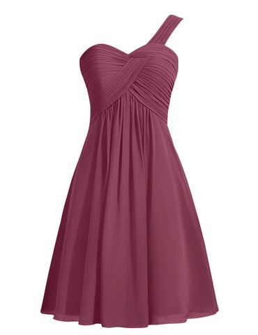Ruffles One-shoulder Short Burgundy Bridesmaid Dress