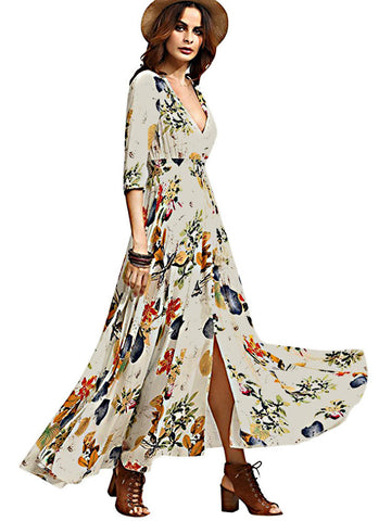 Vintage Boho Floral Print Split Tie V-neck Maxi Dress