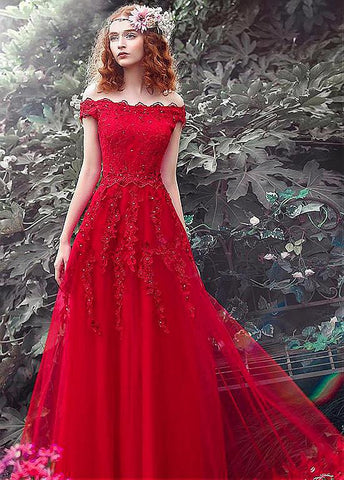 Prom Dresses With Beaded Lace Appliques
