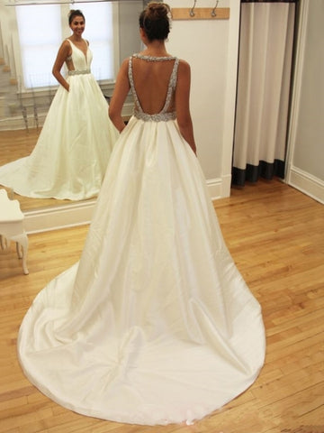 A-Line Open Back Wedding Dress