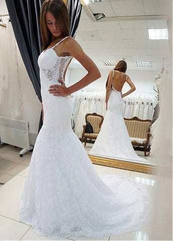 Tulle & Lace Spaghetti Straps Long Backless Mermaid Wedding Dress