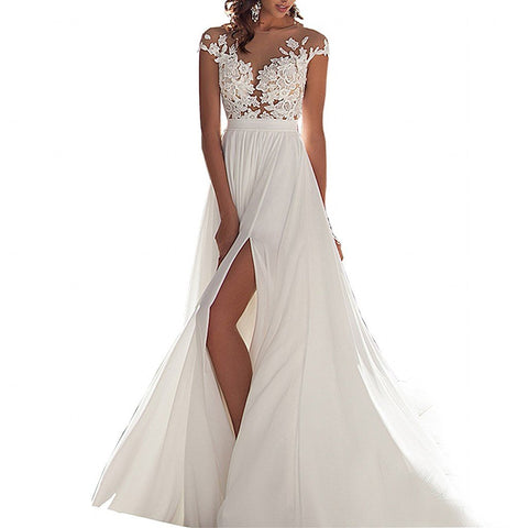 Chiffon beach wedding dress 2017