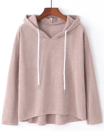 Pear Pink Drop Shoulder Dip Hem Hoodie