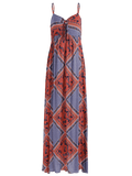 Cheap Bow Tie Tribal Print Slip Maxi Dress