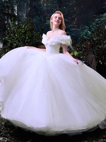 Cinderella White Tulle Ball Gown Wedding Dress