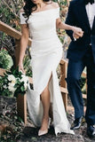 Sheath Column Elegant Off The Shoulder Satin Wedding Dress