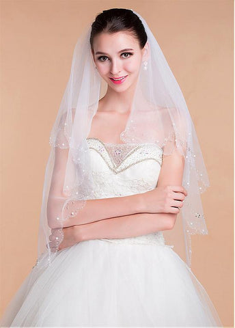 Elegant Tulle Wedding Veil With Beading