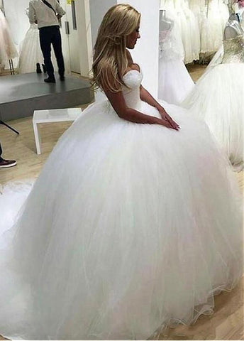 Luxury Tulle Sweetheart Beading Ball Gown Wedding Dress