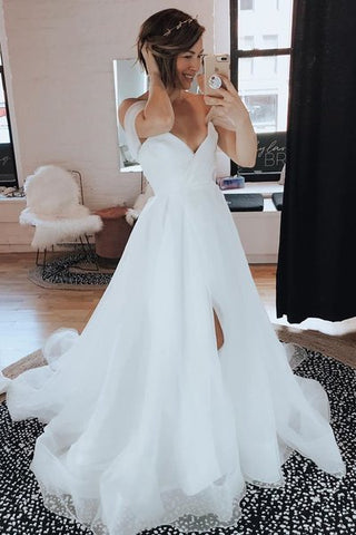 Off the Shoulder Tulle Ruffled Simple Wedding Dress with Split