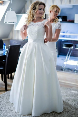 Lace Top Satin A Line Round Neck Wedding Dress