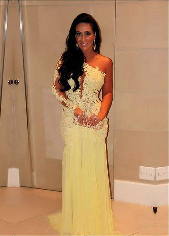 Yellow Tulle & Silk-like Chiffon One-shoulder Sheath Evening Dresses With Lace Appliques