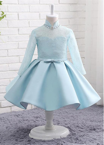 Eye-catching Lace & Satin High Collar Neckline Long Sleeves Ball Gown Flower Girl Dresses With Beadings